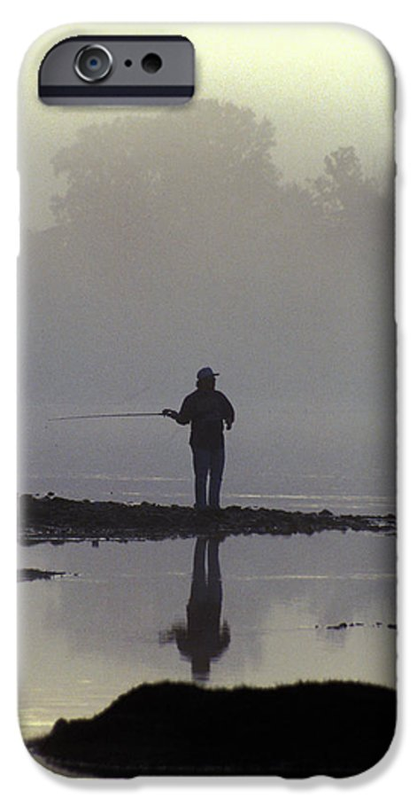 Early IPhone 6 Case featuring the photograph Lone Fisherman by Carl Purcell
