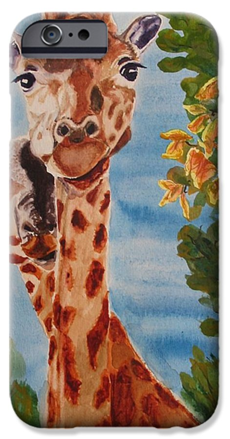 Giraffes IPhone 6 Case featuring the painting Lookin Back by Karen Ilari
