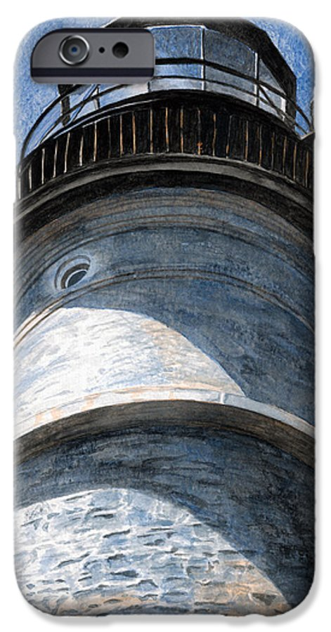 Lighthouse IPhone 6 Case featuring the painting Looking Up Portland Head Light by Dominic White