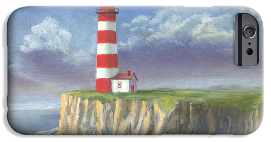 Light IPhone 6 Case featuring the painting Lost Point Light by Jerry McElroy