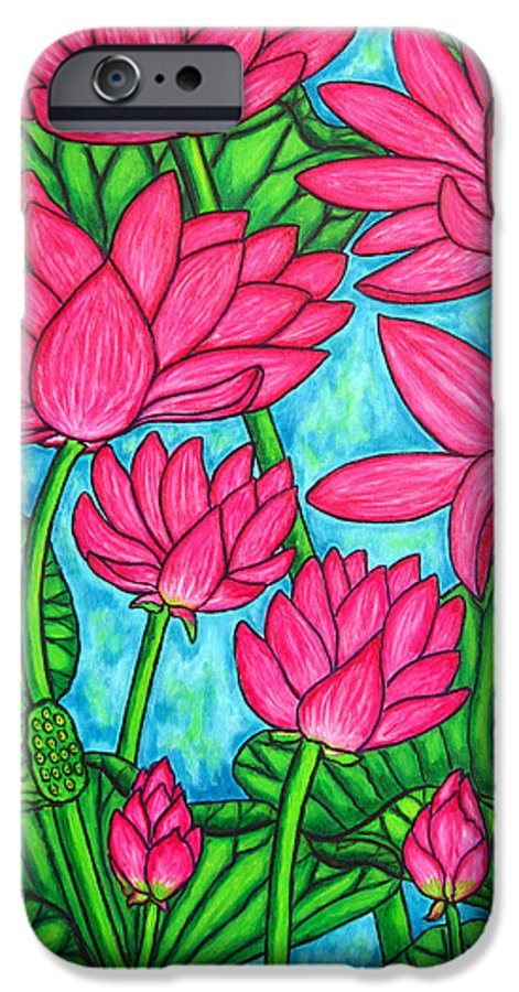 IPhone 6 Case featuring the painting Lotus Bliss by Lisa Lorenz
