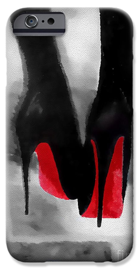 Fashion IPhone 6 Case featuring the mixed media Louboutin At Midnight Black And White by My Inspiration