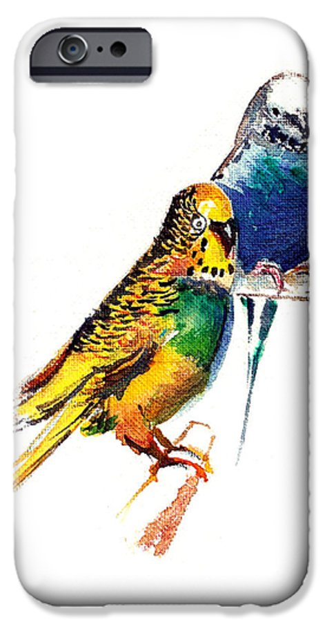 Nature IPhone 6 Case featuring the painting Love Birds by Anil Nene