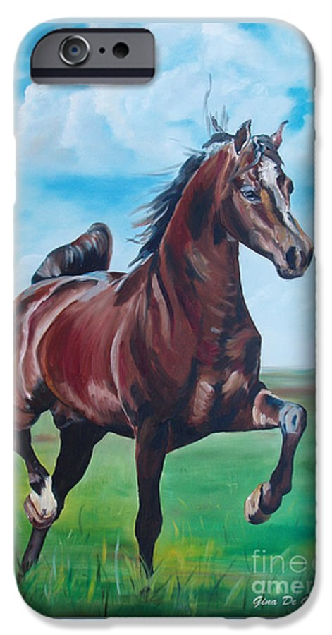Horse IPhone 6 Case featuring the painting Lovely by Gina De Gorna