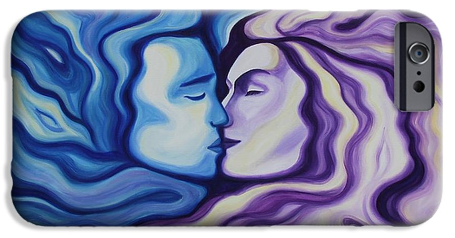 Acrylic IPhone 6 Case featuring the painting Lovers In Eternal Kiss by Jindra Noewi