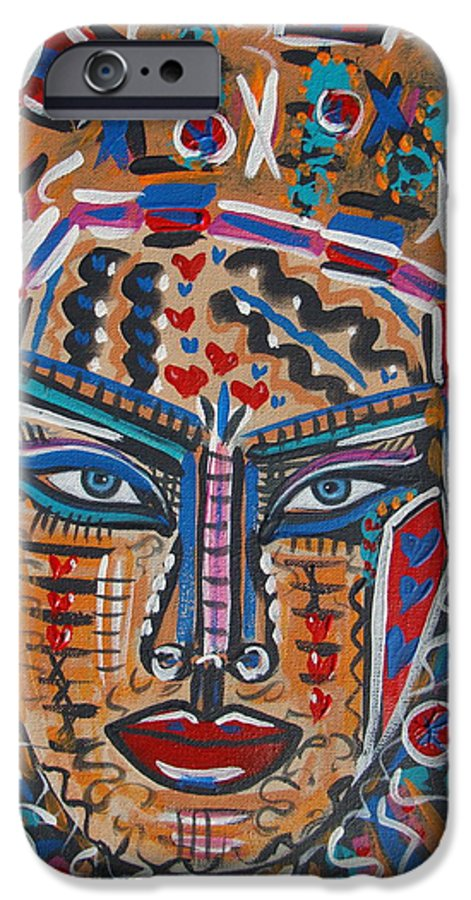 Abstract IPhone 6 Case featuring the painting Loviola by Natalie Holland