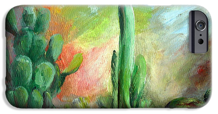 Floral Painting IPhone 6 Case featuring the painting Lumiere De Desert by Muriel Dolemieux