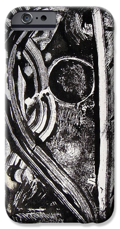 Abstract IPhone 6 Case featuring the painting Lune Noire by Muriel Dolemieux