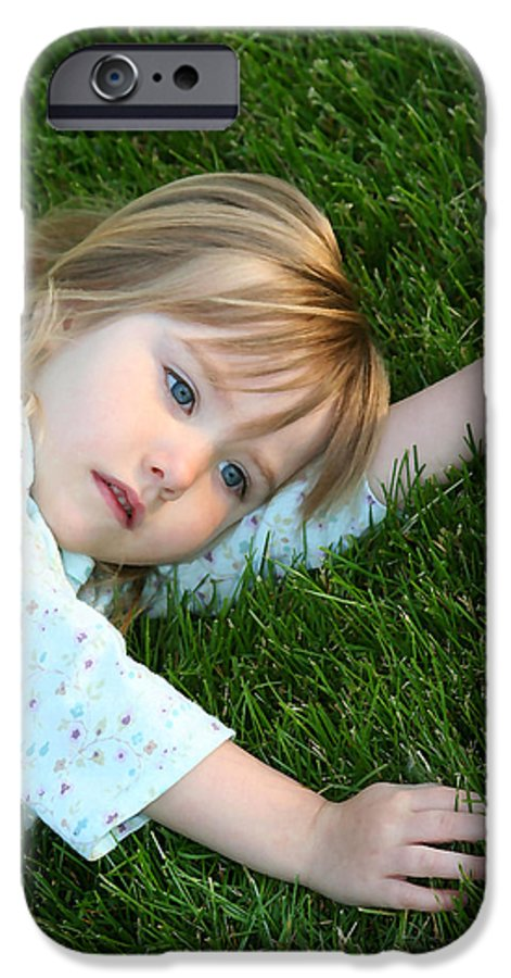 Girl IPhone 6 Case featuring the photograph Lying In The Grass by Margie Wildblood