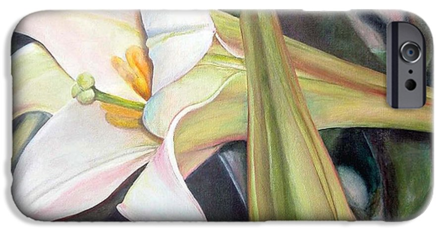 Floral Painting IPhone 6 Case featuring the painting Lys by Muriel Dolemieux
