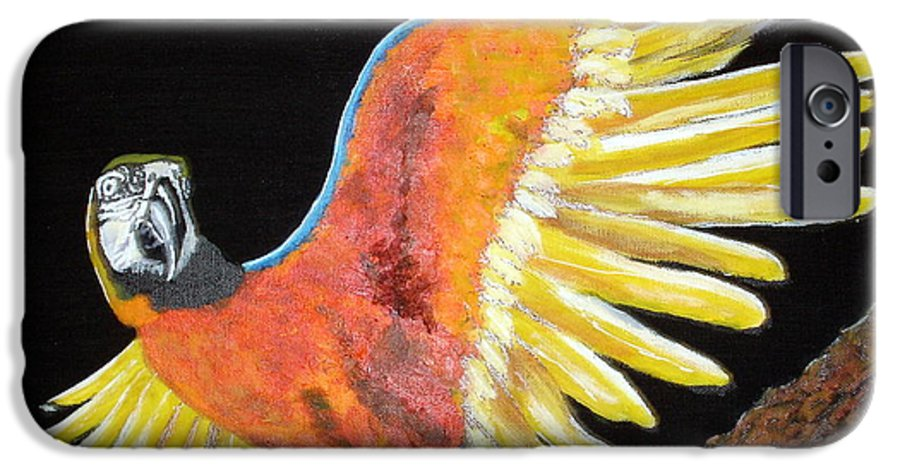 Macaw IPhone 6 Case featuring the painting Macaw - Wingin' It by Susan Kubes
