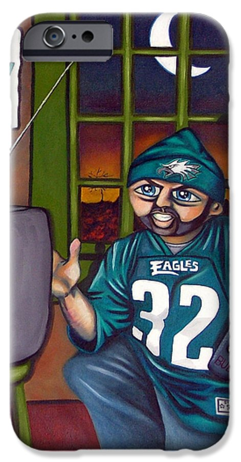 Philadelphia IPhone 6 Case featuring the painting Mad Philly Fan In Texas by Elizabeth Lisy Figueroa