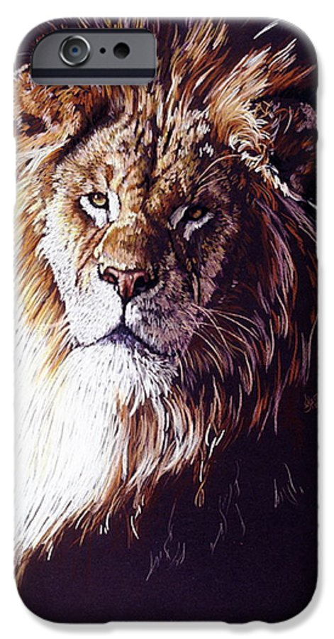 Lion IPhone 6 Case featuring the drawing Maestro by Barbara Keith