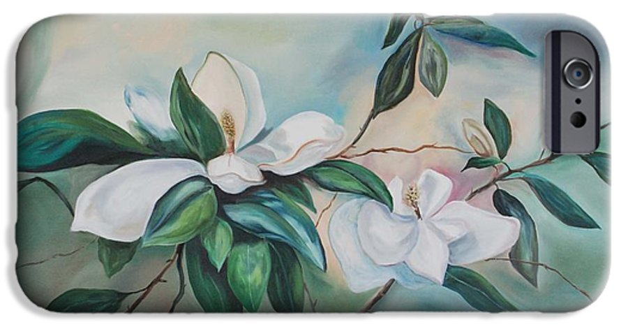 Flowers IPhone 6 Case featuring the painting Magnolia Summer by Margaret Fortunato