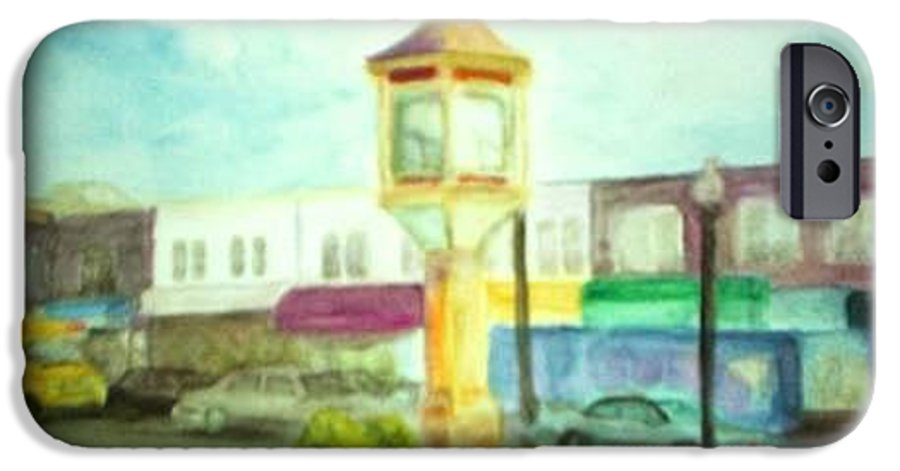 Clock IPhone 6 Case featuring the painting Main Street by Sheila Mashaw