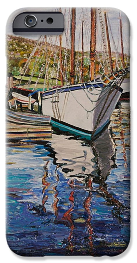 Maine IPhone 6 Case featuring the painting Maine Coast Boat Reflections by Richard Nowak