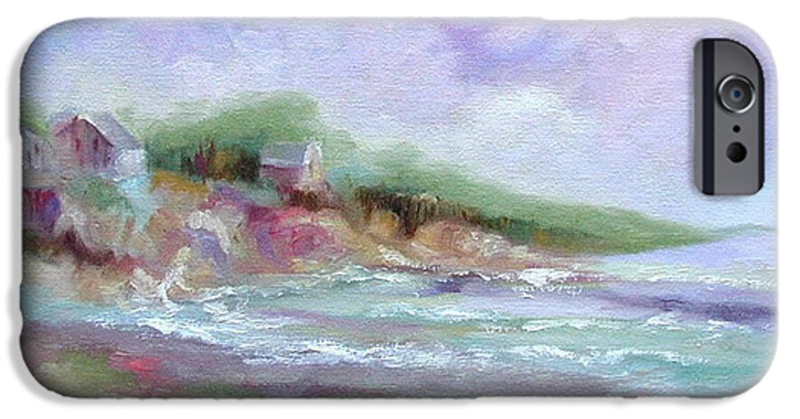 Maine Coastline IPhone 6 Case featuring the painting Maine Coastline by Ginger Concepcion