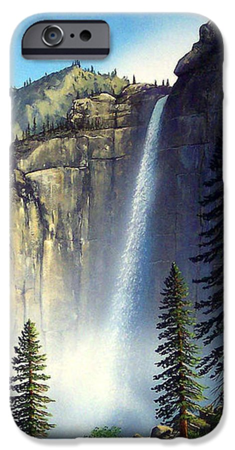 Landscape IPhone 6 Case featuring the painting Majestic Falls by Frank Wilson