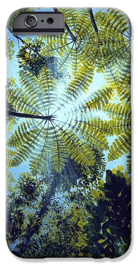 Chris Cox IPhone 6 Case featuring the painting Majestic Treeferns by Christopher Cox