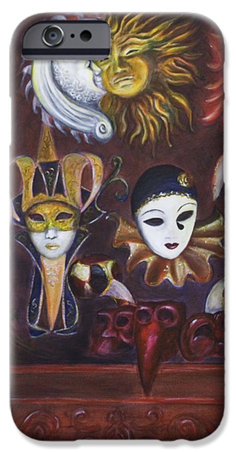 Masks IPhone 6 Case featuring the painting Making Faces II by Nik Helbig