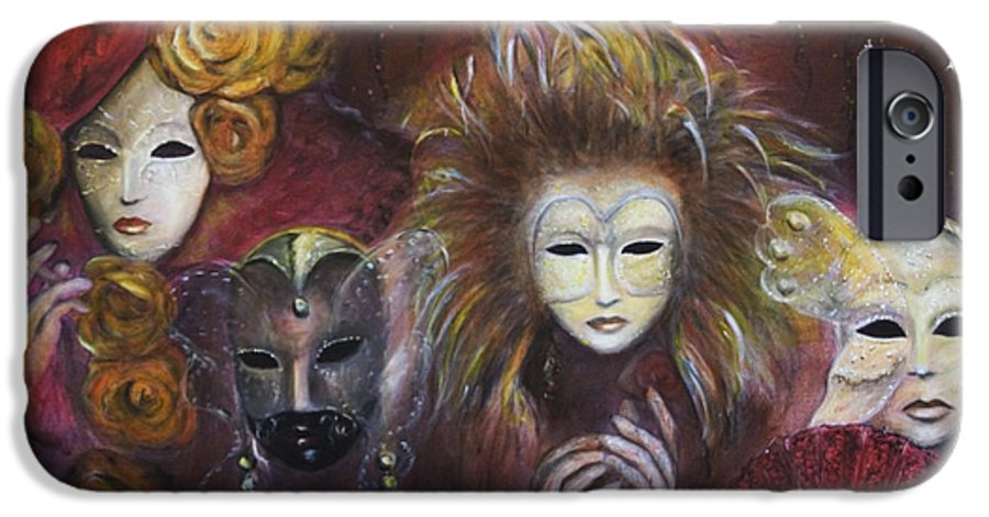 Masks IPhone 6 Case featuring the painting Making Faces Vi by Nik Helbig