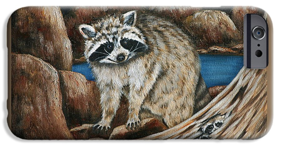 Racoon IPhone 6 Case featuring the painting Mama Racoon by Ruth Bares