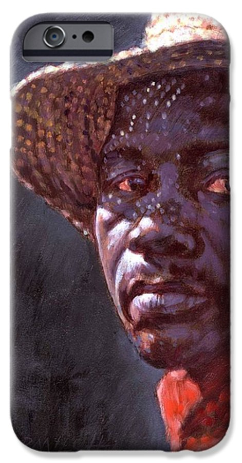 Black Man IPhone 6 Case featuring the painting Man In Straw Hat by John Lautermilch