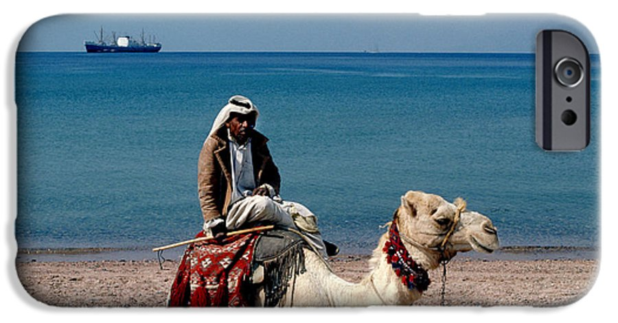 Dromedary IPhone 6 Case featuring the photograph Man With Camel At Red Sea by Carl Purcell