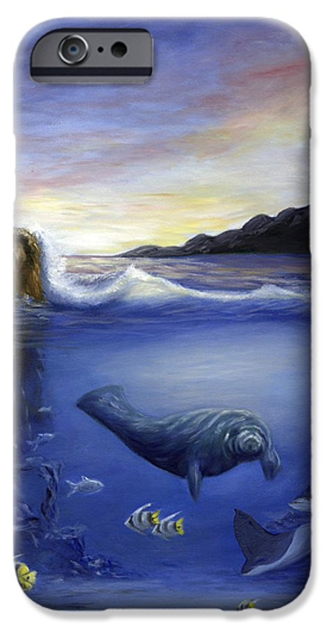Seaworld IPhone 6 Case featuring the painting Manatee by Anne Kushnick