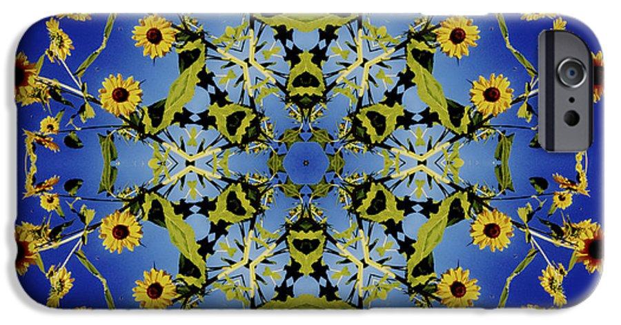Mandala IPhone 6 Case featuring the digital art Mandala Sunflower by Nancy Griswold