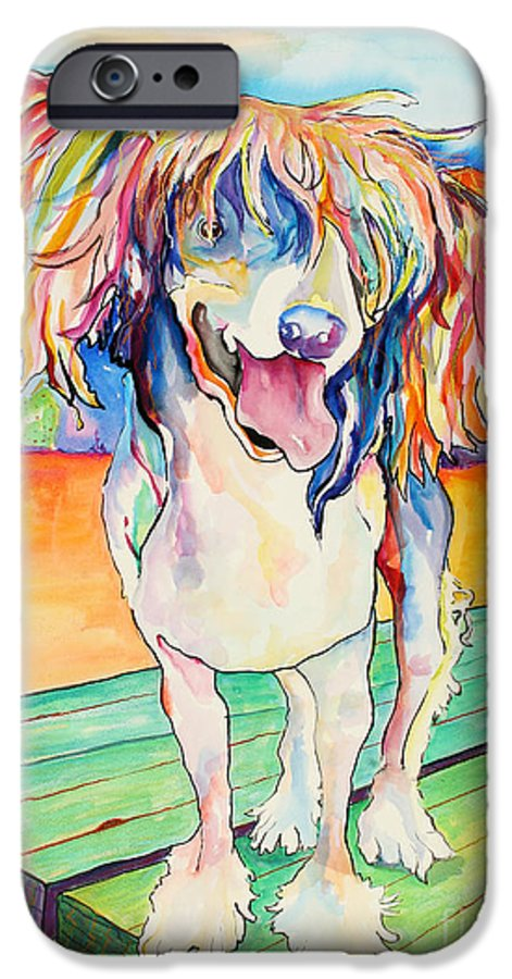 Chinese Crested IPhone 6 Case featuring the painting Mango Salsa by Pat Saunders-White