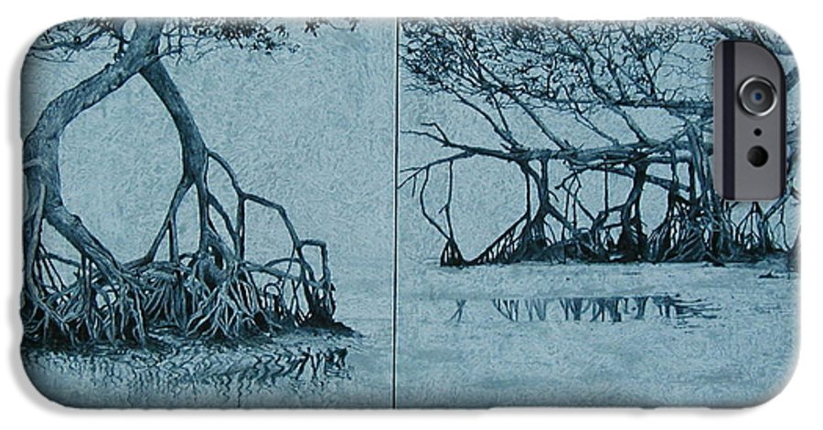 Blue IPhone 6 Case featuring the painting Mangroves by Leah Tomaino