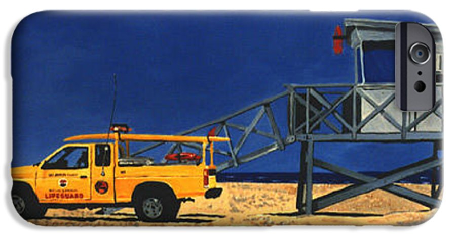 Modern IPhone 6 Case featuring the painting Manhattan Beach Lifeguard Station Side by Lance Headlee