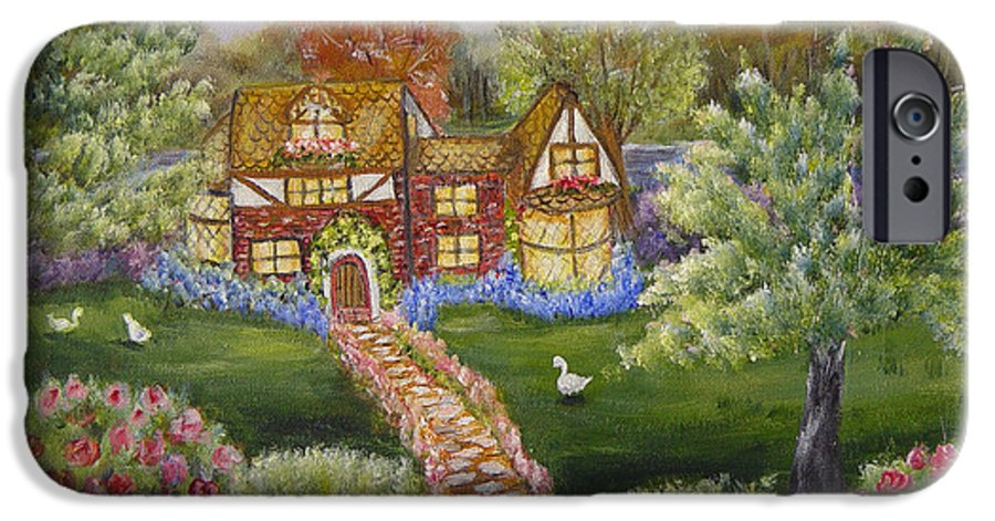 Landscape IPhone 6 Case featuring the painting Manor Of Yore by Quwatha Valentine