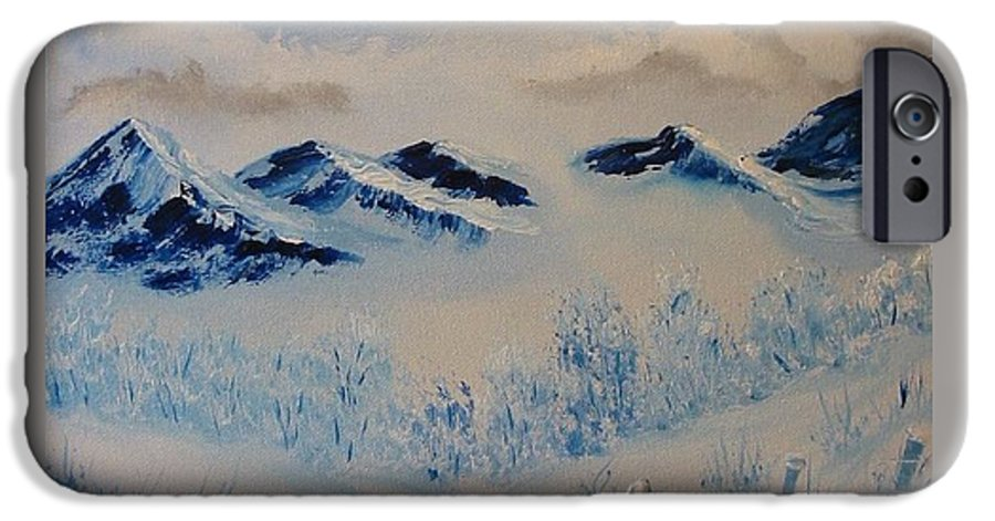 Blue IPhone 6 Case featuring the painting Many Valleys by Laurie Kidd