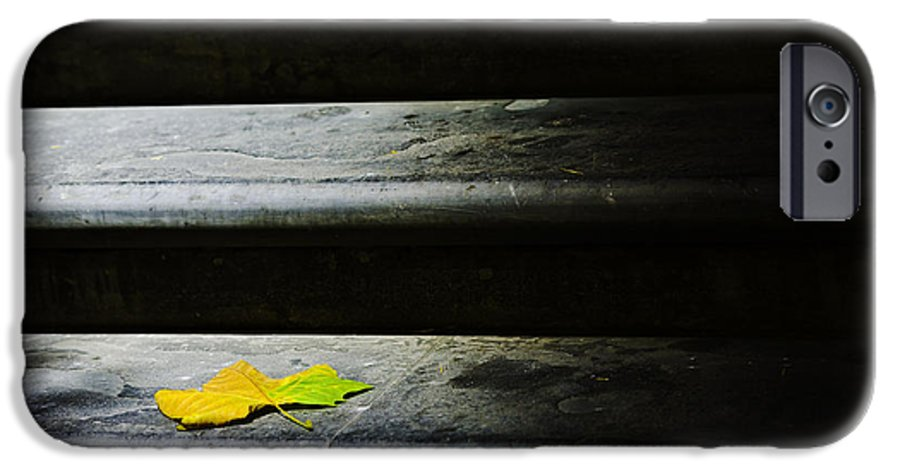 Maple Leaf IPhone 6 Case featuring the photograph Maple Leaf On Step by Avalon Fine Art Photography