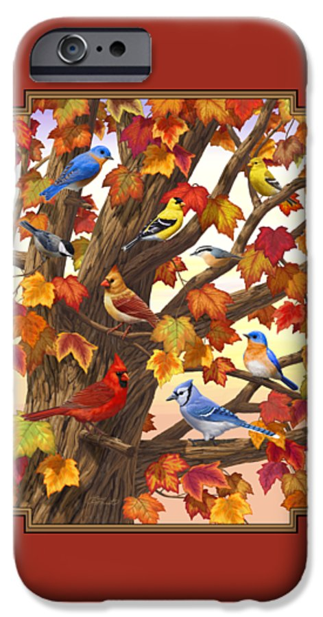 Bird IPhone 6 Case featuring the painting Maple Tree Marvel - Bird Painting by Crista Forest