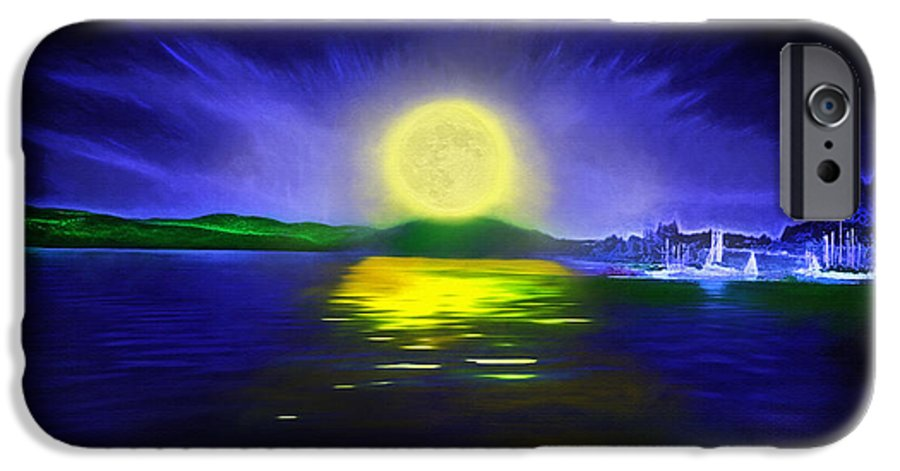 Couer D' Alene; Idaho; Lakes; Water; Night; Nighttime; Moonlight; Moonlit; Full Moon IPhone 6 Case featuring the photograph Marina Moonrise by Steve Ohlsen