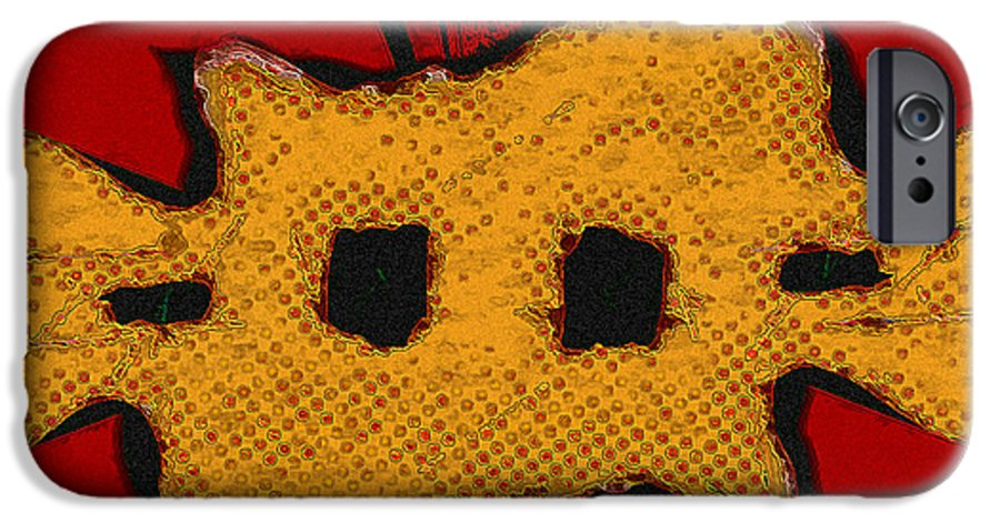 Orange IPhone 6 Case featuring the digital art Masquerade 1 by Dee Flouton