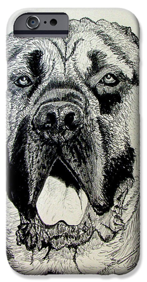 Mastiff IPhone 6 Case featuring the drawing Mastiff by Stan Hamilton