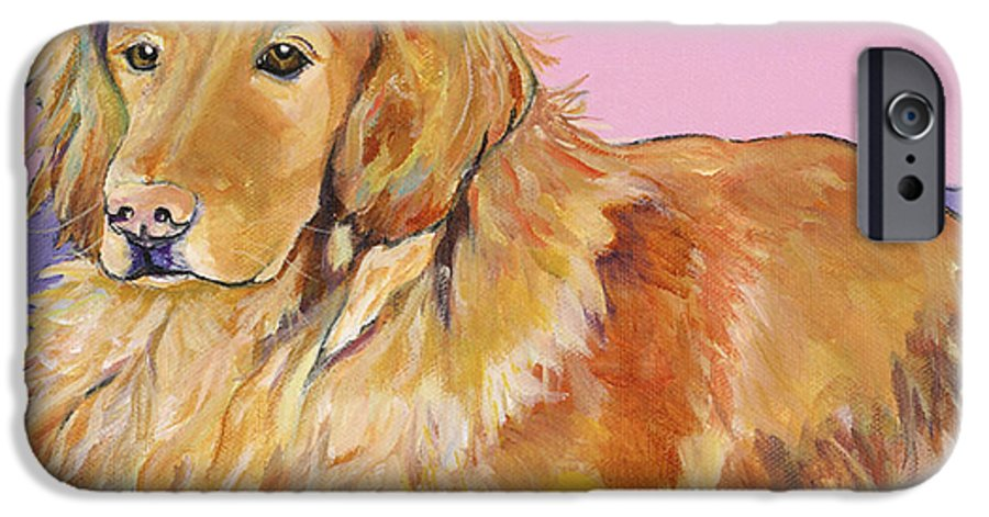 Golden Retriever IPhone 6 Case featuring the painting Maya by Pat Saunders-White