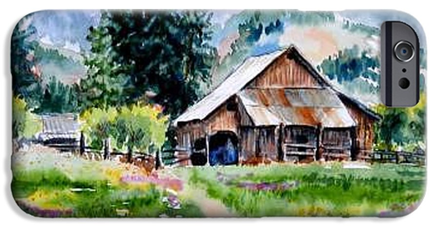 Barn IPhone 6 Case featuring the painting Mcghee Farm by Lynee Sapere