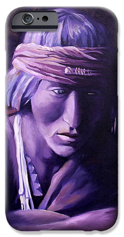 Native American IPhone 6 Case featuring the painting Medicine Man by Nancy Griswold