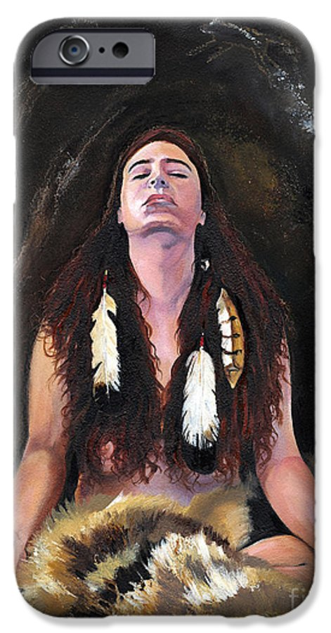 Southwest Art IPhone 6 Case featuring the painting Medicine Woman by J W Baker