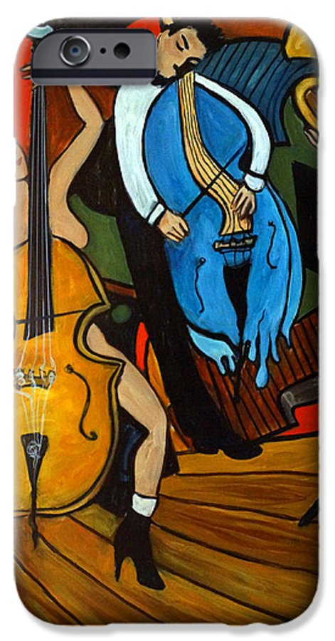 Musician Abstract IPhone 6 Case featuring the painting Melting Jazz by Valerie Vescovi
