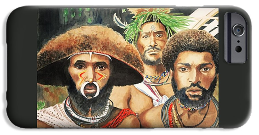Men From New Guinea IPhone 6 Case featuring the painting Men From New Guinea by Judy Swerlick