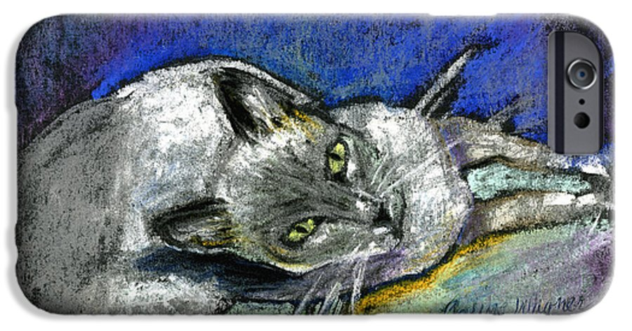 Cat IPhone 6 Case featuring the pastel Michael Campbell by Arline Wagner