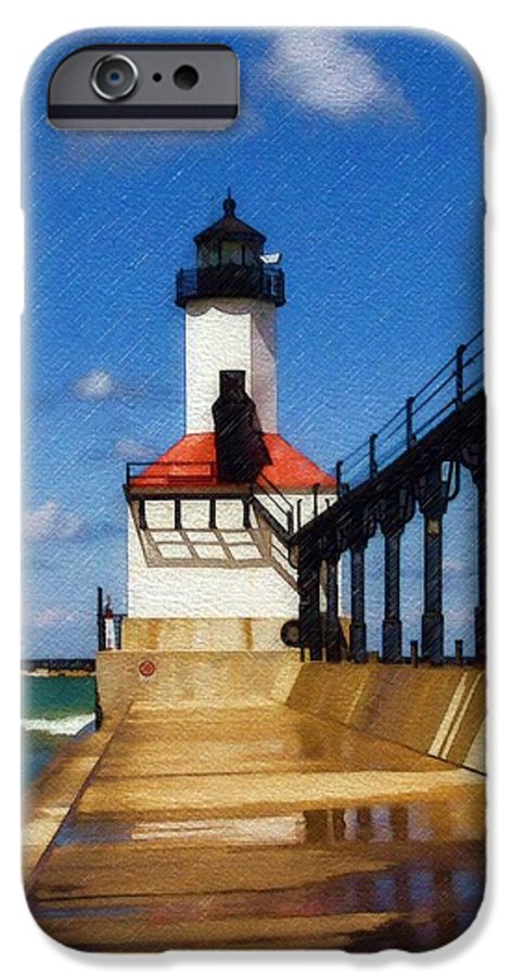 Lighthouse IPhone 6 Case featuring the photograph Michigan City Light 1 by Sandy MacGowan