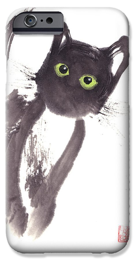 A Curious Black Kitten. This Is A Contemporary Chinese Ink And Color On Rice Paper Painting With Simple Zen Style Brush Strokes.  IPhone 6 Case featuring the painting Midnight by Mui-Joo Wee