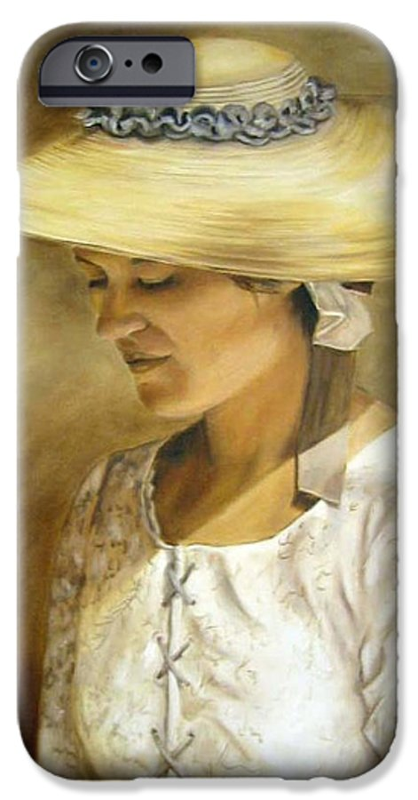 Portrait IPhone 6 Case featuring the painting Milliners Daughter by Anne Kushnick